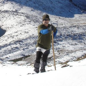 Image shows Steve Delaney in a snowy landscape.