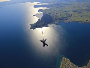 Photograph caption: Person free falling through the air.